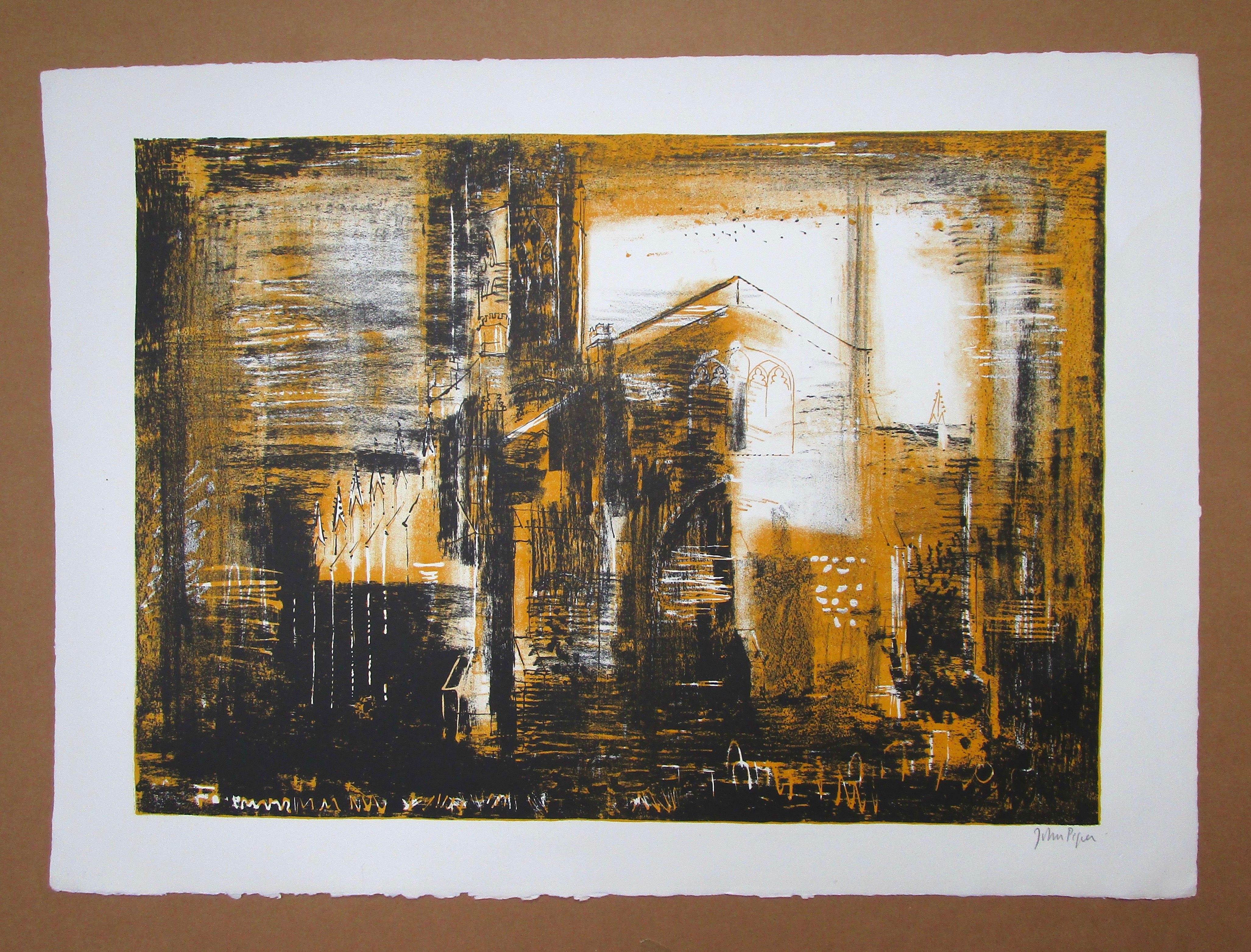 Lot 19 - JOHN PIPER CH [1903-1992] Fotheringhay, Northamptonshire, 1964.lithograph on handmade Barcham