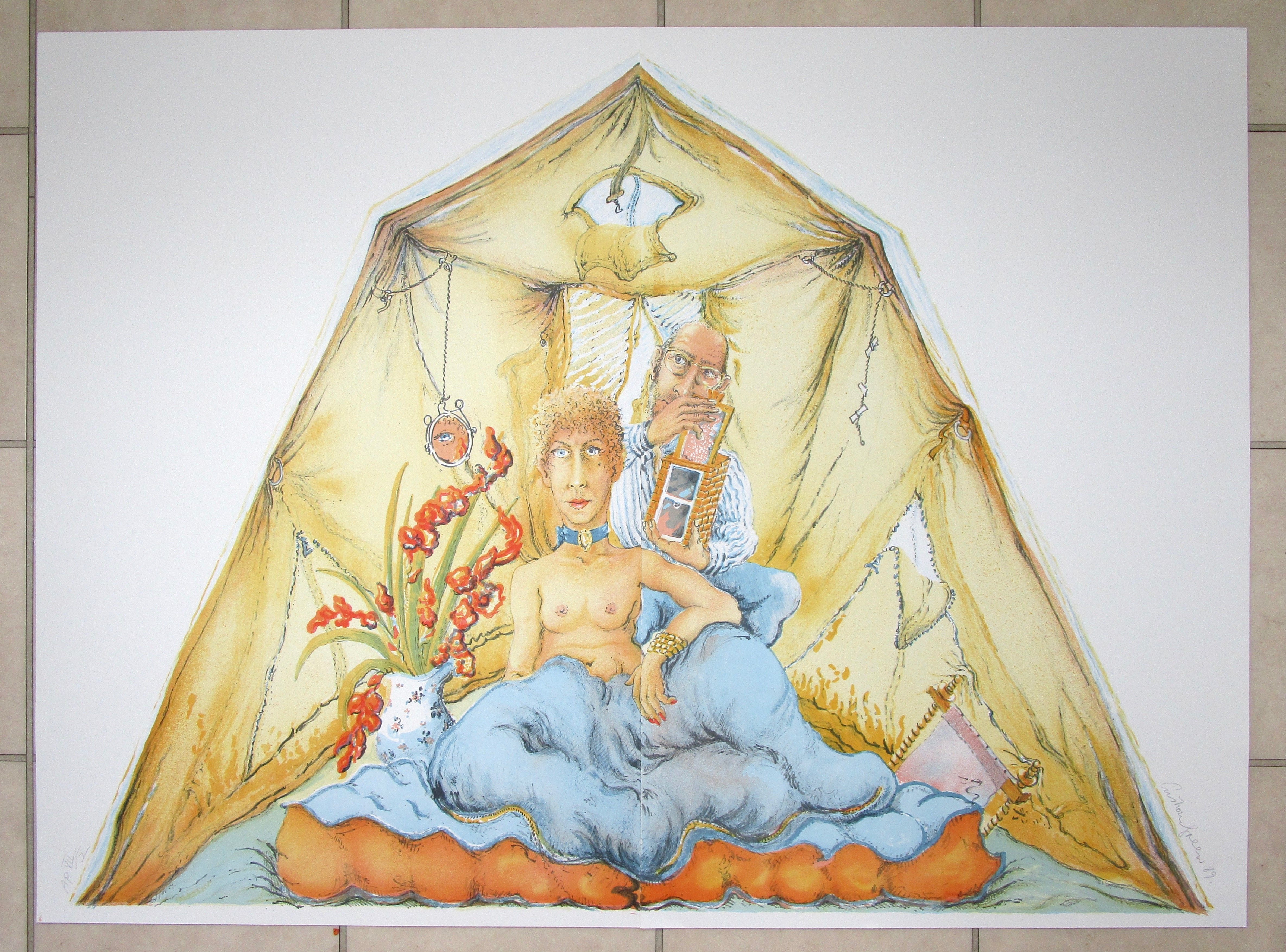 Lot 9 - ANTHONY GREEN RA [b. 1939] Mary's Box and Anthony's Tent, 1988.diptych lithograph on two sheets,