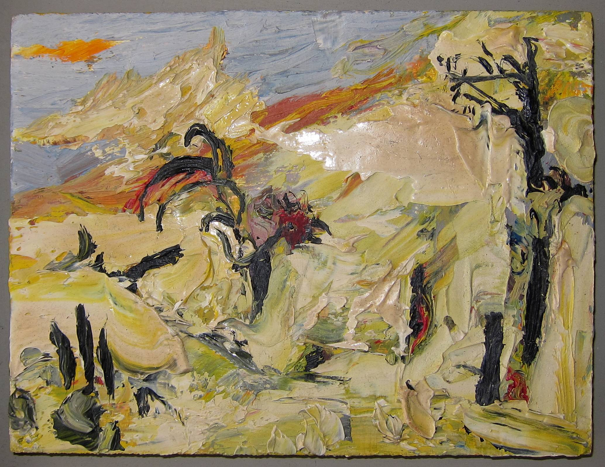 Lot 36 - MAURICE COCKRILL R.A. [1936-2013]. Yellow Landscape, 1988. oil on board. apparently signed on the