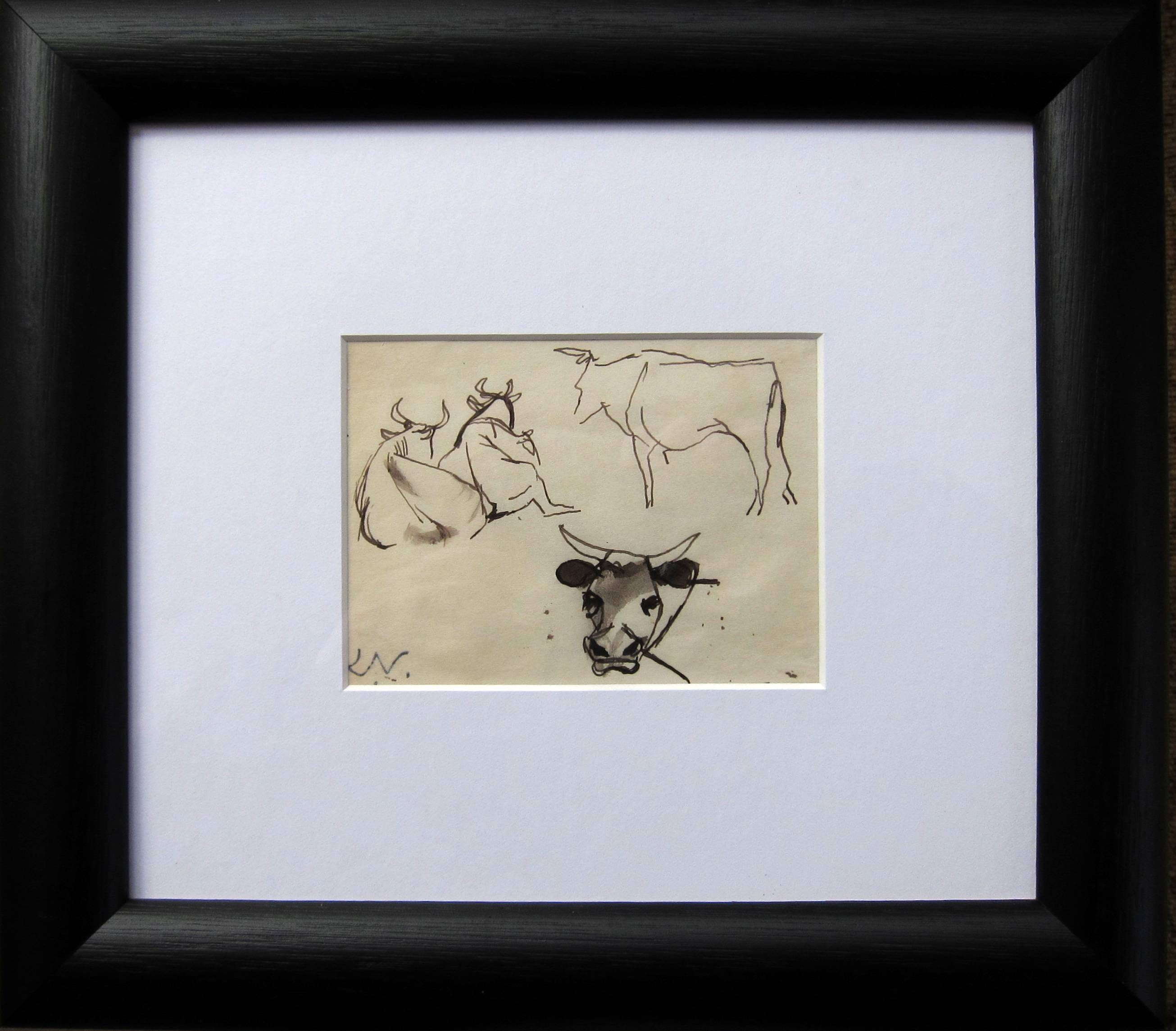 Lot 57 - KEITH VAUGHAN [1912-77]. Cows, 1943. ink drawing, studio stamp initials bottom left. 9 x 11 cm [