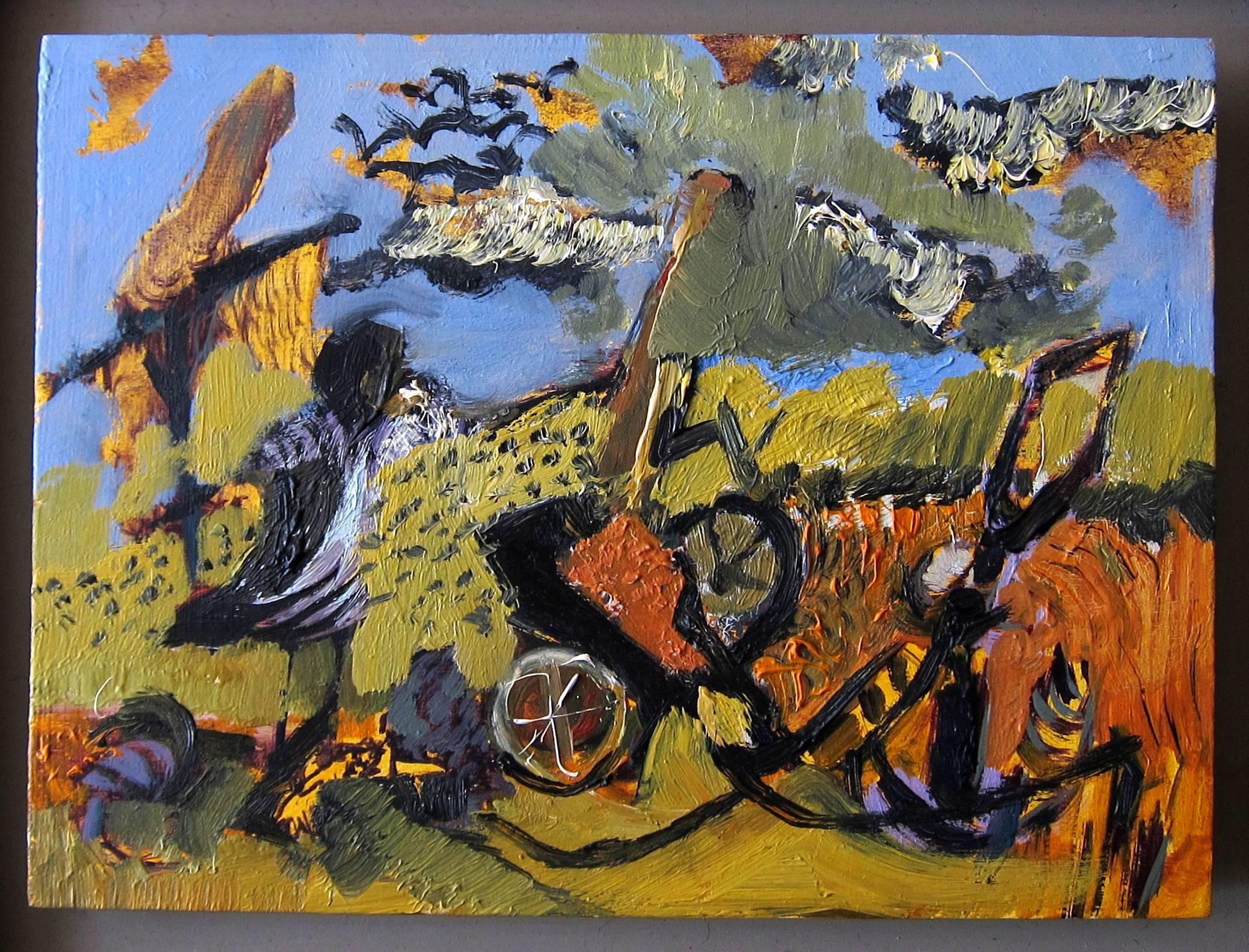 Lot 37 - MAURICE COCKRILL R.A. [1936-2013]. Broken Cart, 1988 oil on board, apparently signed on the reverse,