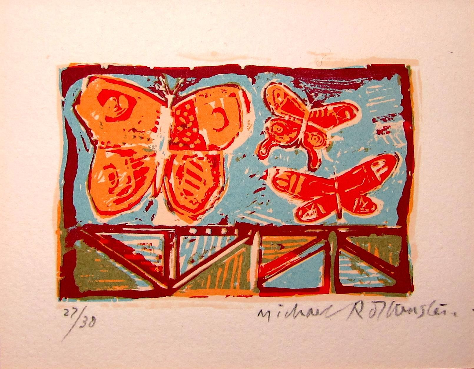 Lot 40 - MICHAEL ROTHENSTEIN R.A. [1908-93]. 3 Butterflies, 1981. screenprint, edition of 30 [27/30],