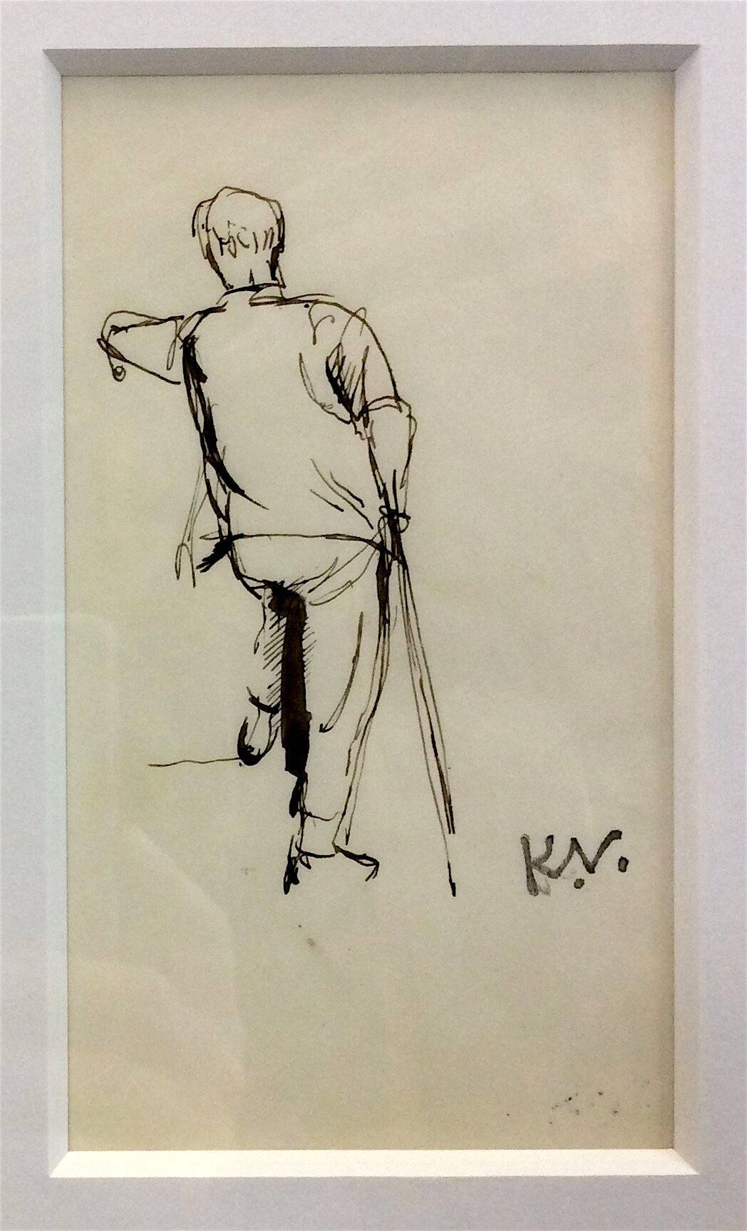Lot 56 - KEITH VAUGHAN [1912-77]. Standing Figure, c. 1941. ink drawing, signed with studio stamp initials.