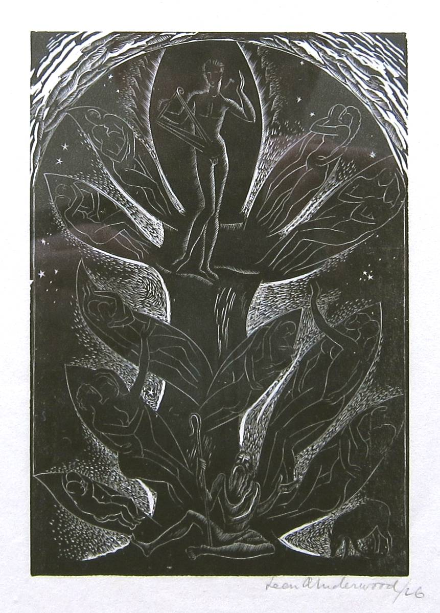 Lot 47 - LEON UNDERWOOD [1890-1975]. Figure & Tree [Music from behind the Moon], 1926. wood-engraving,