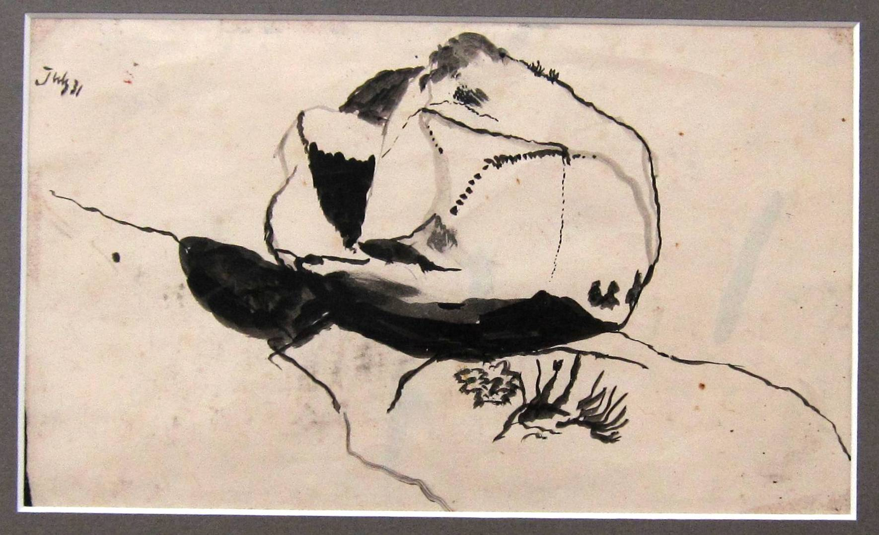 Lot 34 - GRAHAM SUTHERLAND [1903-80]. Small Boulder, 1940. ink drawing. titled and dated by the artist on the