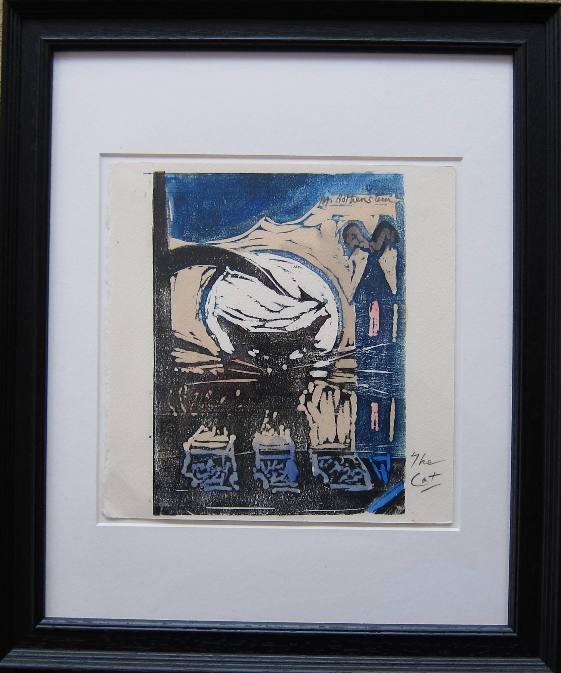 Lot 39 - MICHAEL ROTHENSTEIN R.A. [1908-93]. The Cat. woodcut [with some hand-colouring ?] artist's proof -