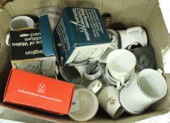 A box of various Royal commemorative wares including Silver Jubilee mug, Royal Wedding 1973,