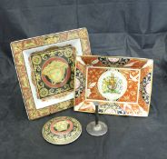 A Royal Worcester Queen Elizabeth II Golden Jubilee trinket dish, two Versace square dishes,
