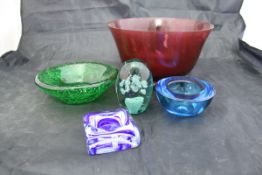 A selection of glass bowls and vases to include a Whitefriars bowl, a Victorian glass dump,