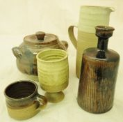 A collection of studio pottery by Colin Pearson to include casserole dish in brown glaze,