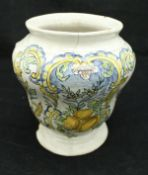 An 18th Century Italian Maiolica vase of gourd form, decorated with a panel of lemons,