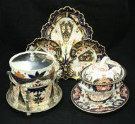 A Royal Crown Derby biscuit barrel, together with a Royal Crown Derby tureen on stand,
