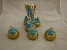 A collection of three Copeland majolica miniature vases/jugs in the form of frogs upon balls,