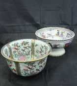 A late Victorian chinoiserie decorated transfer print fruit bowl by D D & Co.
