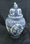 A Boch for Royal Sphinx blue and white Delft ware vase and cover