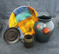 """A Poole Pottery """"Living Glaze"""" red on black design vase and lidded pot designed by Patricia Wells,"""