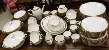 A Richard Ginori dinner service with gilt / black banded edging (56 pieces)