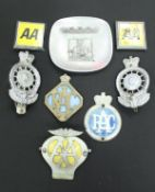 Two Royal Automobile Club car badges numbered MC16149 and MC0018, two further RAC badges,