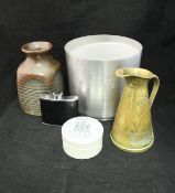 A QE2 croupier card box with sun plaque unused, a Valour oil can, three aluminum jugs and tray,