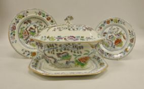 """A collection of 19th Century Mason's Ironstone """"Flying bird"""" pattern polychrome decorated"""