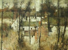 "MICHEL DE GALLARD (1921-2007) ""Trees before farm buildings"", oil on canvas, signed lower left,"