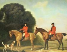 """19TH CENTURY ENGLISH SCHOOL MANNER """"Mounted hunstman with hound in landscape"""", modern oil on canvas,"""