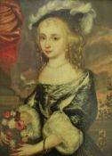 """17TH CENTURY DUTCH SCHOOL IN THE MANNER OF CASPAR NETSCHER (1639-1684) """"Young lady in feathered"""