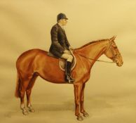 """SUE WHITTAKER """"Geoffrey James on horseback"""", watercolour, signed and dated """"1986"""" lower left,"""