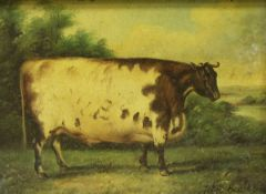 """Two modern textured colour prints of """"Sheep in a landscape"""" and """"Naive cow in a landscape"""","""