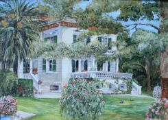 """PAR """"Family home at Cannes"""", a country house with landcape garden, oil on board,"""