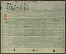 """A collection of eight various 19th Century indentures together with a framed and glazed """"The"""