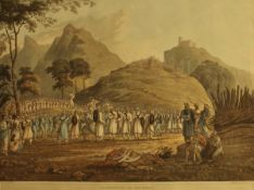 """AFTER J B FRASER (1783-1856) """"Assemblage of Ghoorkas"""", coloured engraving by R Havell & Son,"""