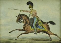 """DOYLE """"7th Dragoons"""", hand-coloured engraving,"""
