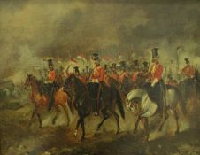 """19TH CENTURY ENGLISH SCHOOL """"The 16th (The Queen's) Lancers"""", oil on canvas, unsigned,"""