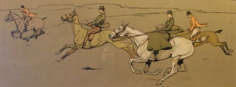 """AFTER DOROTHY HARDY """"Huntsman riding across an open field"""" and """"Huntsman riding through a gateway"""","""