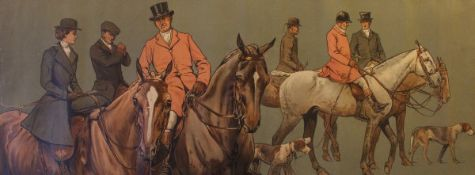 """AFTER DOROTHY HARDY """"Mounted huntsmen gathering"""", a pair of chromolithographs,"""
