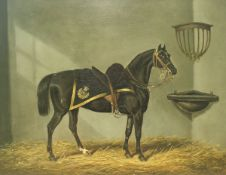 """JAMES LODER (1784-1860) """"Saddled hunter in a stable wearing military blanket"""", oil on canvas,"""