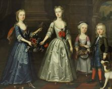"""ATTRIBUTED TO JAMES FRANCIS MAUBERT (1666-1740) """"Son & daughters of Richard Clarke Esq. 1727."""