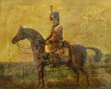 """19TH CENTURY ENGLISH SCHOOL """"Officer of the 4th Dragoon Guards on horseback in a landscape"""","""