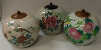 Three 20th Century Chinese polychrome decorated ginger jars and covers and a box of various plates