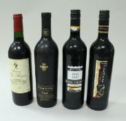 A collection of various red wines including Hardy's Crest 150th Anniversary 2003 x 2,