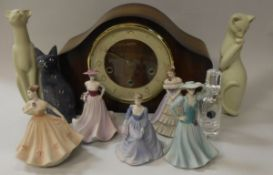 Five Coalport English Rose Collection figurines, three various cat figures, three vases,