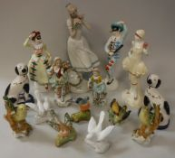 "A collection of various figures / figurines including Crown Staffordshire ""Columbine"" and"
