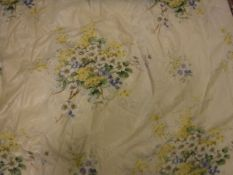 A pair of glazed cotton yellow ground Jean Munro Spring Flowers pattern curtains,