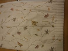 A pair of cotton cream ground crewel work insect and flower decorated curtains, lined,