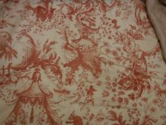 Two pairs of cotton coral and cream chinoiserie style decorated curtains, interlined,