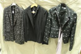 A collection of clothing, comprising Dolce & Gabanna black pinstriped jacket, Karen Millen jacket,