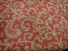 Two pairs of cotton type cream and coral foliate decorated curtains, interlined,