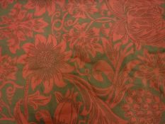 Two pairs of cotton type red and green coloured Sanderson's William Morris Acanthus print curtains,