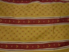 Two pairs of cotton twill yellow and red striped with floral motifs curtains, interlined,